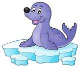 Happy seal on iceberg theme 1
