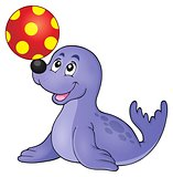 Seal playing with ball theme 1