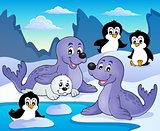 Seals and penguins theme image 1