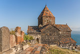 Church and Sevan lake in Armenia