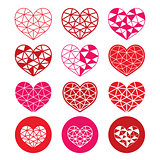 Geometric red and pink heart for Valentine's Day icons - love, relationship concept