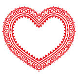 Heart red Mehndi design, Indian Henna tattoo pattern