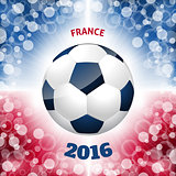 Soccer ball poster with french flag like background