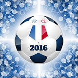 Soccer ball poster with blue background and french flag