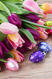 pink and purple easter tulips