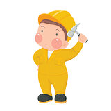 Service Worker in Yellow Work wear with Hammer