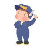 Service Worker in Blue Work wear with Hammer