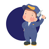 Service Worker in Work wear with Hammer on Blue Circle Background