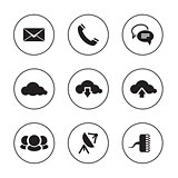 Communication icons on black and white backdrops