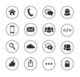 Web, communication black and white icons: internet