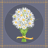 Daisy flower bouquet on the greeting card.