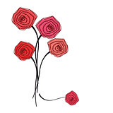 Bouquet of red roses on white background.