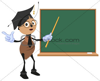 Ant teacher stands at blackboard
