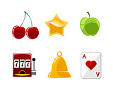 Six casino icons set