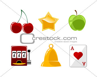 Six casino icons set