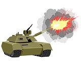 Modern tank shoots