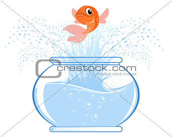 Gold fish jumping