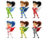 Six superhero girls