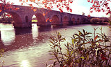 Puente Romano bridge in Merida, Spain, filtered