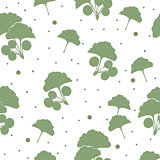 Seamless pattern branches and leaves of ginkgo biloba.