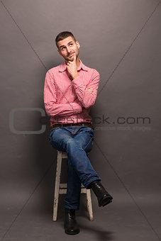 Thoughtful man in studio