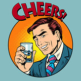 Cheers toast celebration man pop art retro style