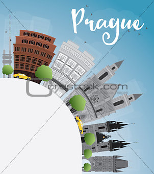 Prague skyline with grey landmarks, blue sky and copy space.