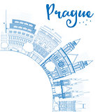 Outline Prague skyline with blue landmarks and copy space.