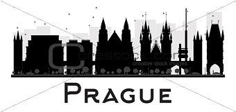 Prague City skyline black and white silhouette.