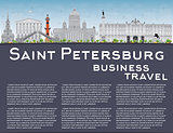 Saint Petersburg skyline with grey landmarks and copy space.