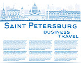 Outline Saint Petersburg skyline with blue landmarks and copy sp