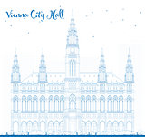 Outline Vienna City Hall in blue color.