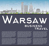 Warsaw skyline with grey buildings, blue sky and copy space.