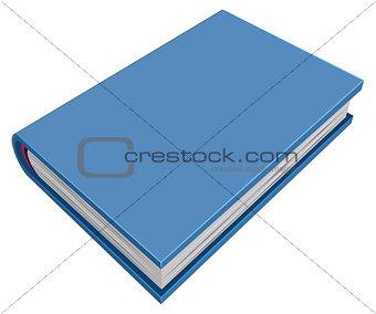 Blue closed hardcover book. Three-dimensional book