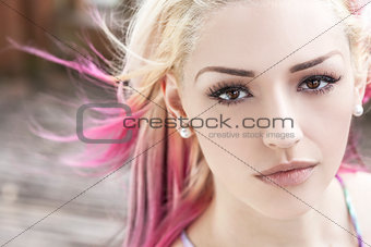 Beautiful Woman With Blond and Pink Hair