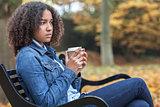 Sad African American Teenager Woman Drinking Coffee