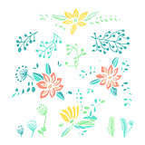 Set of hand drawn floral compositions and elements