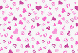 Seamless background pattern with hand drawn textured pink hearts