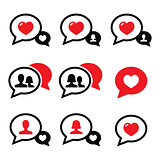 Love speech bubbles, couples vector icons set