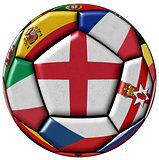 Soccer ball with flag of England in the center