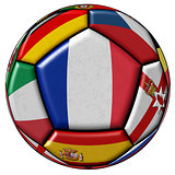 Soccer ball with flags - flag of France in the center