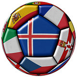 Soccer ball flag of Iceland in the center