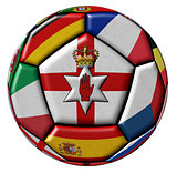 Soccer ball with flags - flag of Northern Ireland in the center