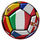 Soccer ball with flags - flag of Italy in the center