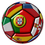 Soccer ball with flags - flag of Portugal in the center