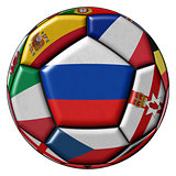 Soccer ball flag of Russia in the center