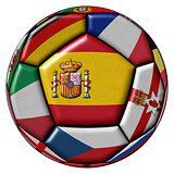 Soccer ball with flags - flag of Spain in the center
