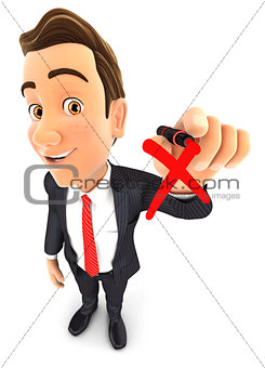 3d businessman drawing red cross check mark