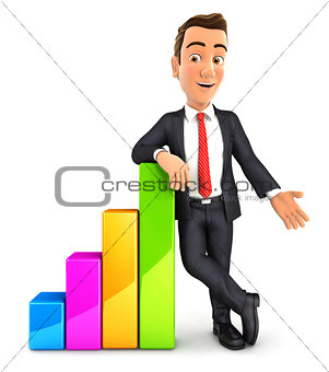 3d businessman leaning against bar chart