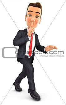 3d businessman walking on tiptoe